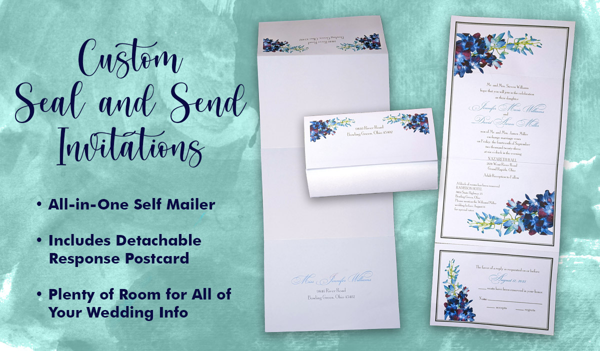 Custom Seal and Send Wedding Invitations Now Available